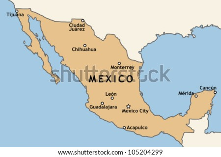Mexico Map Major Mexican Cities Mexico Stock Vector - Where is mexico