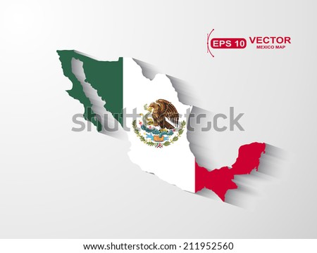 Mexico map with shadow effect - stock vector