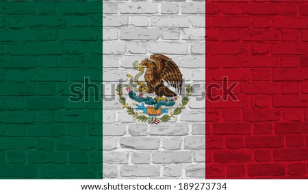 Mexico, Mexican flag on brick textured background - stock vector
