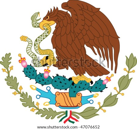 Mexico national emblem - golden eagle catch snake - stock vector