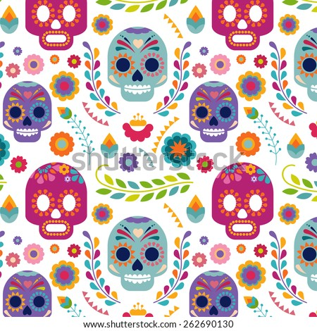 Mexico pattern with skull, flowers and ethnic elemens - stock vector