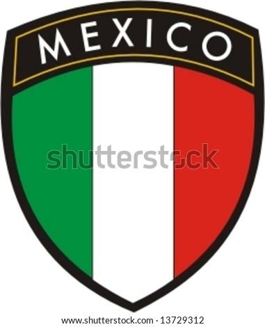 mexico plaque flag vector - stock vector