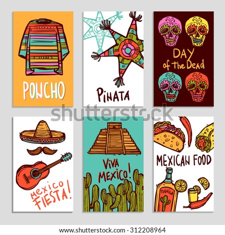 Mexico poster set with hand drawn poncho pinata and food elements isolated vector illustration - stock vector