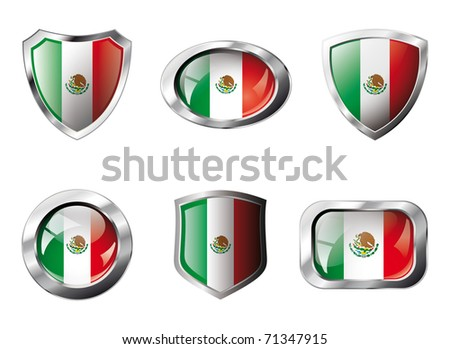 Mexico set shiny buttons and shields of flag with metal frame - vector illustration. Isolated abstract object against white background. - stock vector