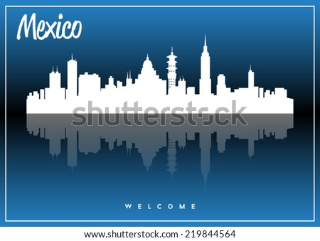 Mexico, skyline silhouette vector design on parliament blue background. - stock vector