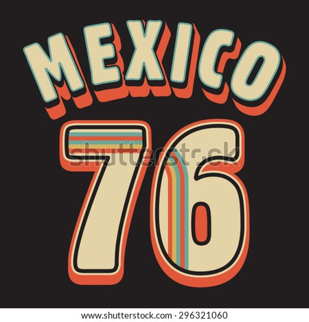 Mexico sport typography, t-shirt graphics, vectors - stock vector