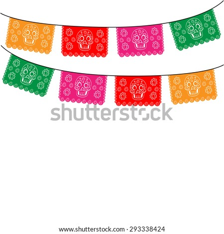 mexico. template with hanging traditional mexican flags  - stock vector
