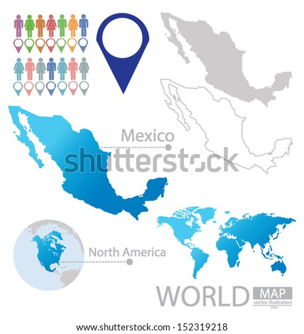 Mexico. United Mexican States. North america. World Map. vector Illustration. - stock vector