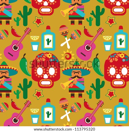 Mexico - vector pattern with icons and illustrations - stock vector