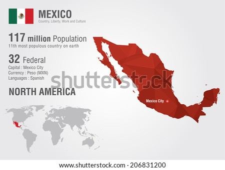 Mexico world map with a pixel diamond texture. World Geography. - stock vector