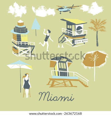 Miami beach, print design - stock vector