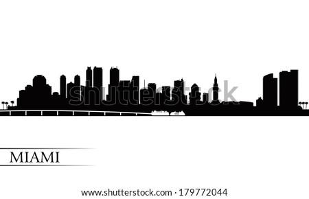 Miami city skyline silhouette background, vector illustration  - stock vector