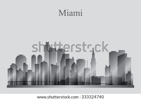 Miami city skyline silhouette in grayscale, vector illustration - stock vector