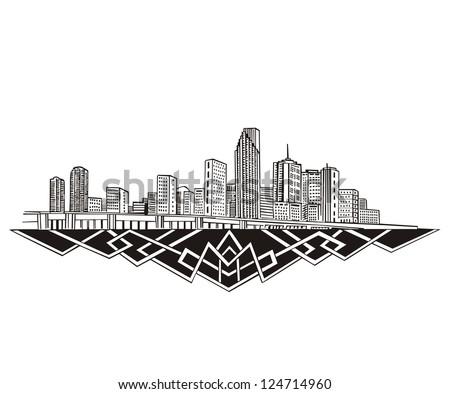 Miami, FL Skyline. Black and white vector illustration EPS 8. - stock vector