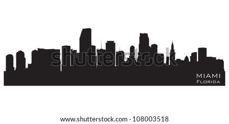 Miami, Florida skyline. Detailed vector silhouette - stock vector