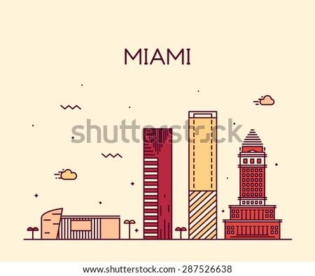 Miami skyline, detailed silhouette. Trendy vector illustration, linear style. - stock vector