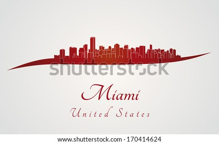 Miami skyline in red and gray background in editable vector file - stock vector