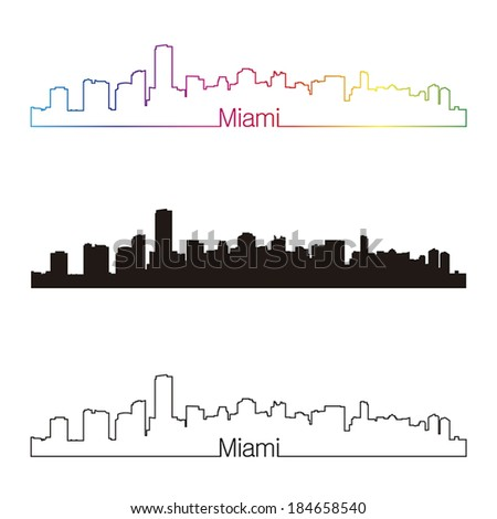 Miami skyline linear style with rainbow in editable vector file - stock vector