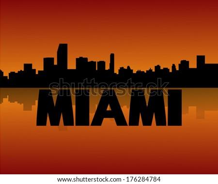 Miami skyline reflected at sunset vector illustration - stock vector