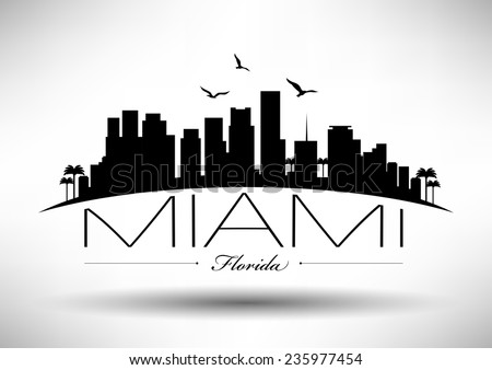 Miami Skyline with Typography Design - stock vector