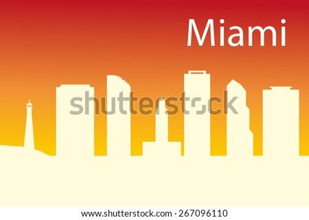 Miami Skyline with Typography Design - stock vector