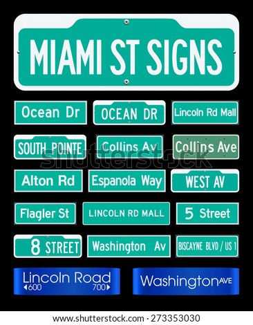 Miami Street Signs - stock vector