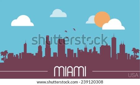 Miami USA skyline silhouette flat design vector illustration. - stock vector