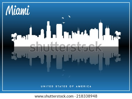 Miami, USA skyline silhouette vector design on parliament blue background.
