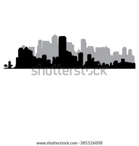 Miami vector Skyline  - stock vector