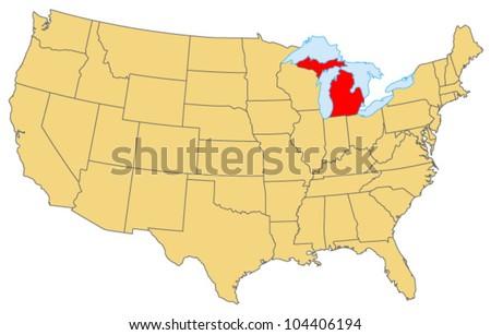 Michigan Locate Map - stock vector