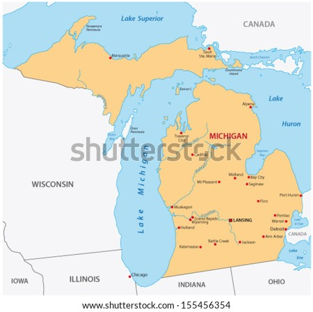 michigan map - stock vector