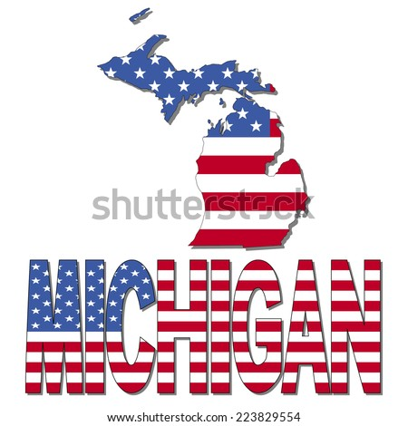 Michigan map flag and text vector illustration - stock vector