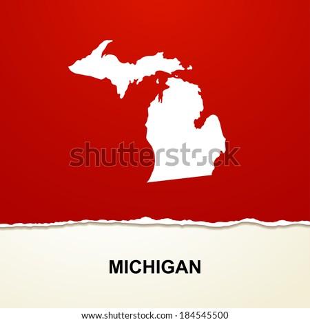 Michigan map vintage vector background - stock vector