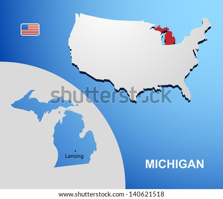 Michigan on USA map with map of the state