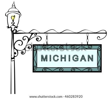 Michigan retro pointer lamppost.