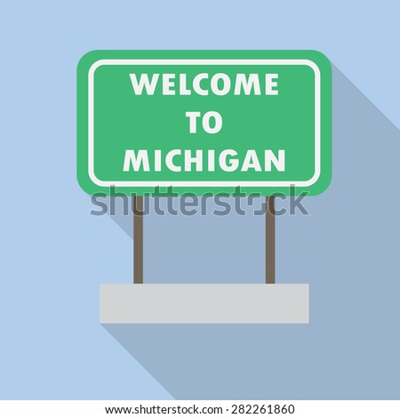 Michigan road sign. Flat style with long shadow. Vector EPS10 - stock vector