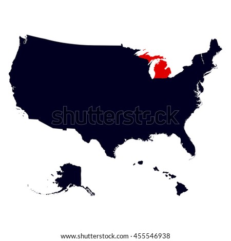 Michigan State In The United States Map