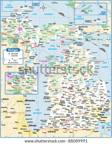 Michigan Map Stock Images RoyaltyFree Images Vectors - State map of michigan