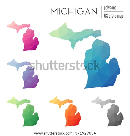 Michigan state map in geometric polygonal style. Set of Michigan state maps filled with abstract mosaic, modern design background. Multicolored state map in low poly style - stock vector