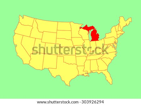 Michigan State Usa Vector Map Isolated Stock Vector - Us map michigan state