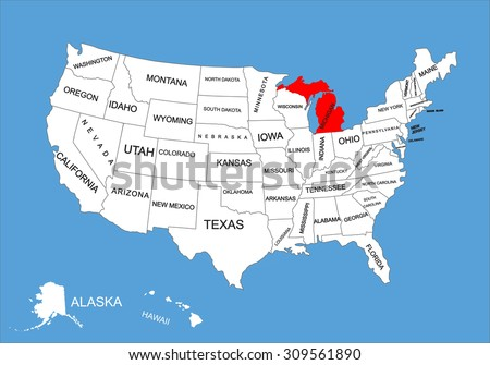 Michigan State, USA, vector map isolated on United states map. Editable blank vector map of USA. - stock vector