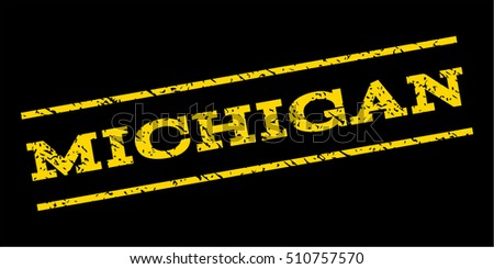 Michigan watermark stamp. Text caption between parallel lines with grunge design style. Rubber seal stamp with dirty texture. Vector yellow color ink imprint on a blue background.