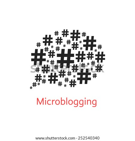 microblogging icon with speech bubble from hashtag. concept of number sign, networks and microblogger. isolated on white background. flat style trendy modern logotype design vector illustration - stock vector