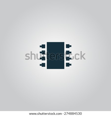 Microchip. Flat web icon or sign isolated on grey background. Collection modern trend concept design style vector illustration symbol - stock vector