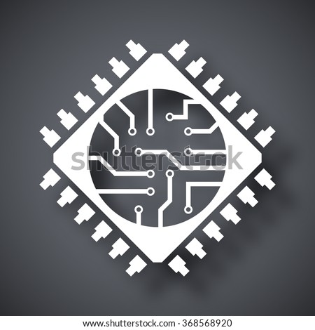 Microchip icon, vector - stock vector