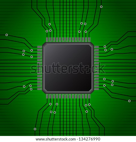 microchip technology - stock vector