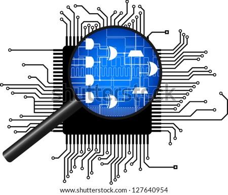 microchip under magnification vector illustration - stock vector