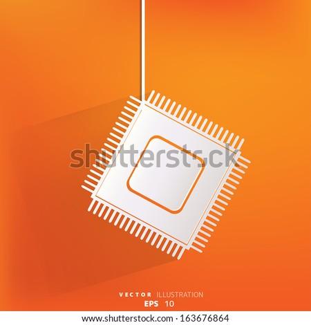 Microchip web icon - stock vector