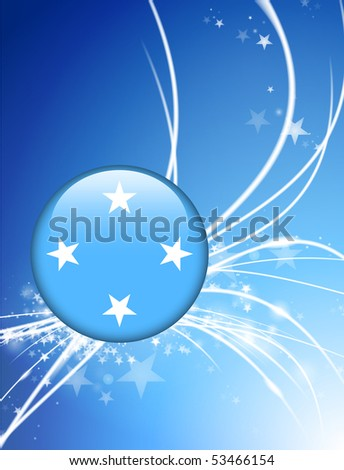Micronesia Flag Button on Abstract Light Background Original Illustration