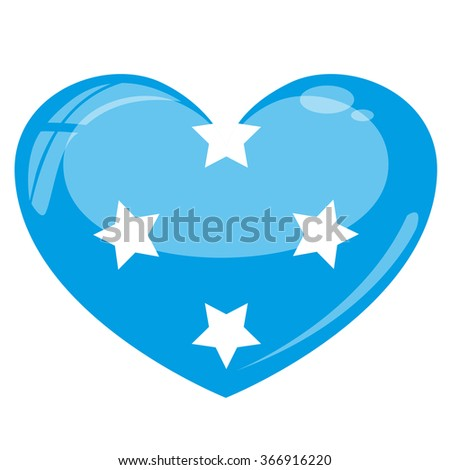 Micronesia Flag Heart Vector Silhouette - stock vector